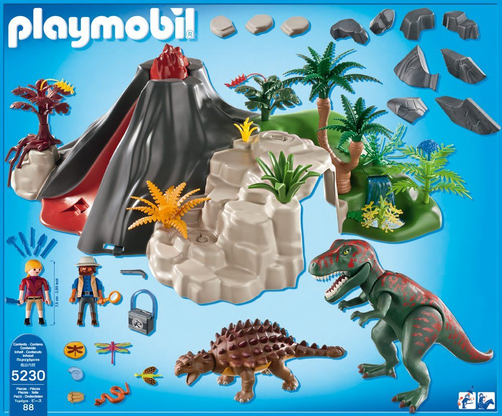 Playmobil volcano with t rex pampered presents for Playmobil dinosaurios